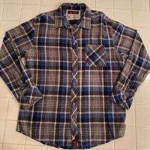 Tony Hawk Grey Blue Plaid Flannel Button Down